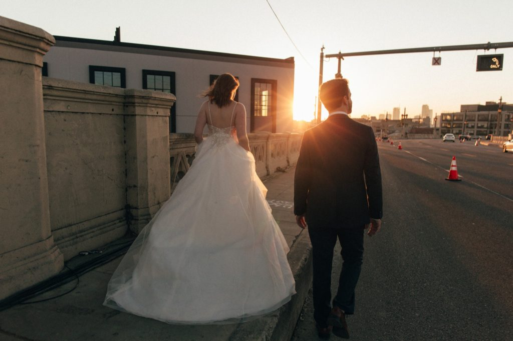 sunset wedding session in the arts district