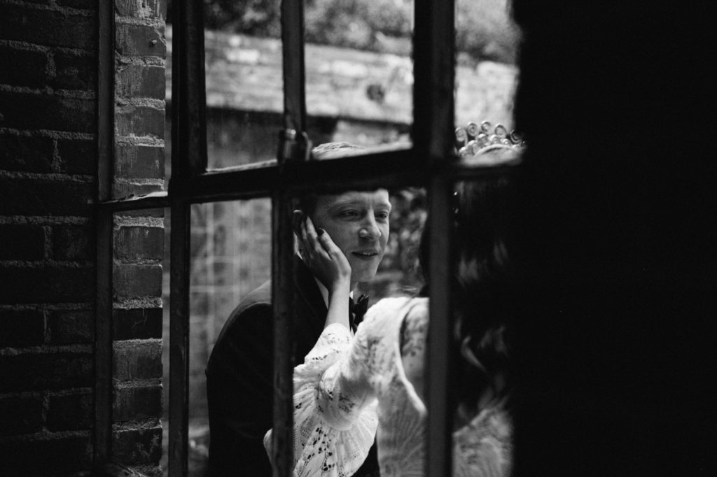 quiet moment between bride and groom at carondelet house