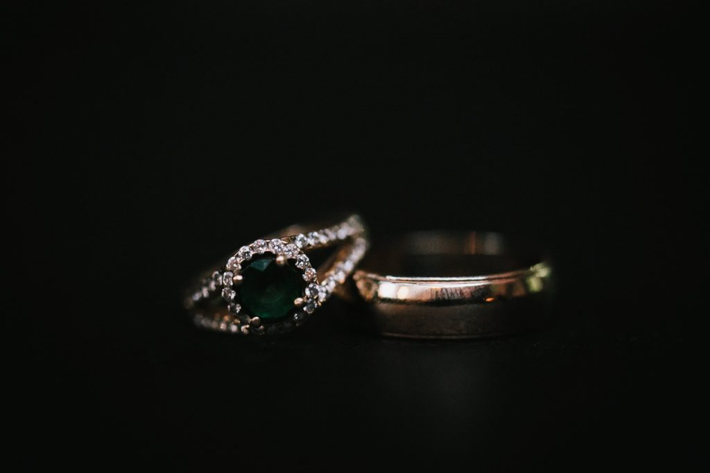 emerald wedding ring detail